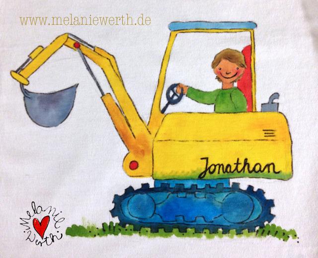Bagger für Kinder, Baggerfahrer Kind, Bagger Kuschelkissen, Bagger Shirt