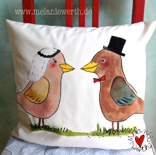 Geschenk zur Hochzeit, Geschenk zur Vermählung, individuelles Geschenk für das Hochzeitspaar, Vogelhochzeit, Die Drossel war der Bräutigam, die Amsel war die Braute