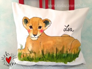 Löwenmädchen, Geschenk Geburt, Löwin, Löwenkind, Löwe, Löwenkissen, Kissenbezug mit Löwe