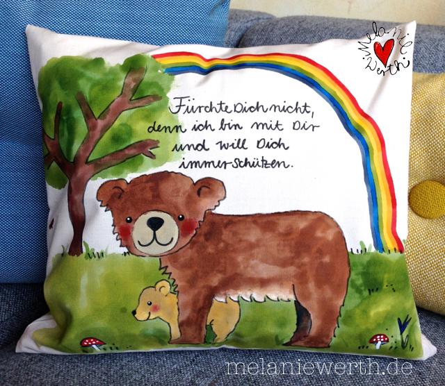 Bär mit Baby, Bärenmutter mit Baby, Bär im Wald, Geschenk mit Bär, Geschenk Taufe Patenkind, Geschenk mit Taufspruch, Geschenk mit Babybär, Fürchte dich nicht denn ich bin mit dir und will dich immer schützen