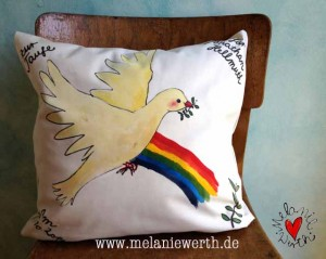 Friedenstaube, Regenbogen, Geschenk Taufe, Geschenk mit Friedenstaube, Geschenk mit Taufspruch, Geschenk Patenkind