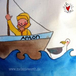 Geschenk Geburt, Geschenk mit Seemann, Geschenk Baby, Geschenk kleiner Junge, Maritimes Geschenk, Kuschelkissen mit Seemann