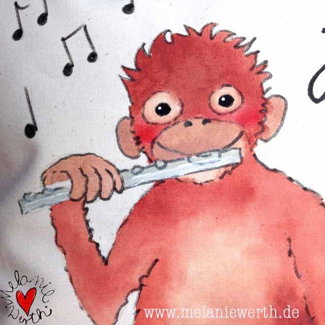 Geschenk Geburt mit Affe, Geschenk Geburt musikalisch, Geschenk Geburt Keyboard, Geschenk Geburt Querflöte, Geschenk Geburt mit Name