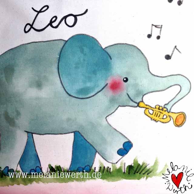 Kissenbezug Elefant, Geschenk mit Elefant, Geschenk Geburt musikalisch, Geschenk Geburt mit Namen, Geschenk Gebaut mit Elefant
