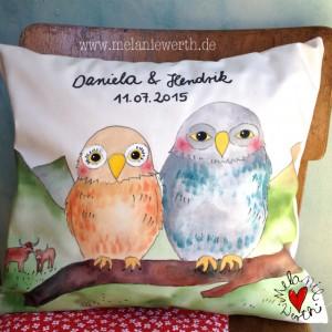Geschenk zur Hochzeit, Geschenk zur Vermählung, Geschenk zur Trauung, Geschenk für Verliebte, Geschenk Vogelhochzeit, Eulen Geschenk, Schottland Geschenk, Highlandrind Geschenk