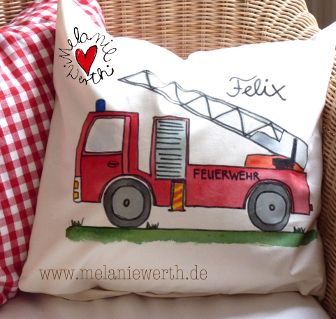 Shirt mit Feuerwehr, Kissenbezug mit Feuerwehr, Geschenk Geburt mit Feuerwehr, Geschenk Taufe mit Feuerwehr, Geschenk Geburtstag mit Feuerwehr