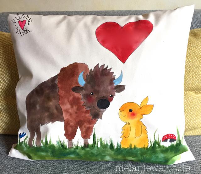 Hase und Büffel verliebt, Kissenbezug aus Bio-Baumwolle für Verliebte