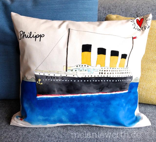 Titanic Kissen, individuelles Geschen für einen Jungen