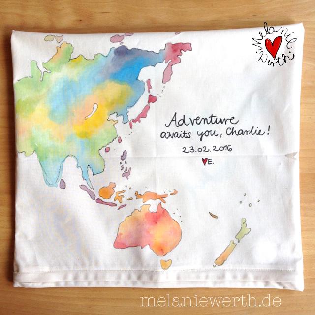 Weltkarte, Kissenbezug zur Geburt aus Bio-Baumwolle