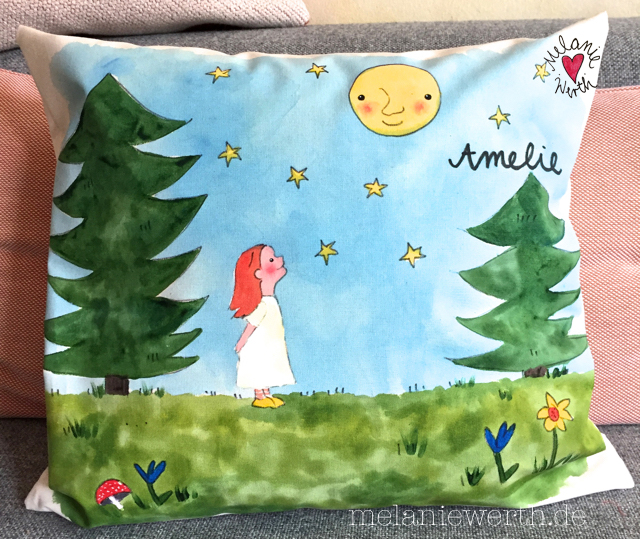 Kissenbezug Sterntaler, Mondgesicht, Geschenk Sterntaler, Geschenk Vollmond, Geschenk mit Mond, Geschenk mit Sternen, Geschenk kleines Mädchen,