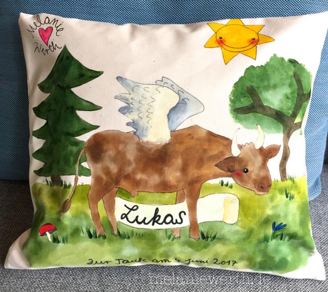 Geschenk Geburt, Geschenk Taufe, Geschenk mit Stier, Geschenk geflügelter Stier, Geschenk für Lukas
