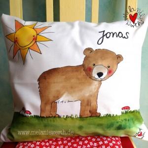 Geschenk Geburt kleiner Bär, Geschenk Geburtstag kleiner Bär, Geschenk Taufe kleiner Bär, Kuschelkissen mit kleinem Bär, Kuschelkissen mit Namen