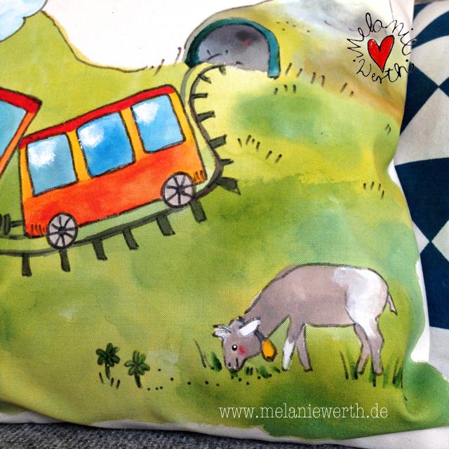 Kissenbezug mit Lok, Kissenbezug mit Bimmelbahn, Kissenbezug mit Dampflokomotive, Geschenk mit Lokomotive, Geschenk mit Dampflok, Geschenk mit Eisenbahn, Kinderkissen mit Eisenbahn