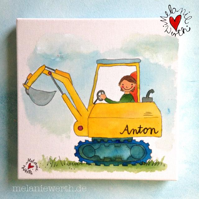 Kinderzimmerbild mit Bagger, Bild mit Bagger für Kinder, Bagger Kinderzimmer, Bagger auf Leinwand für Kinder, Leinwandbild für Jungs, Bagger für kleinen Jungen, Geschenk für Anton, Namengeschenk Anton