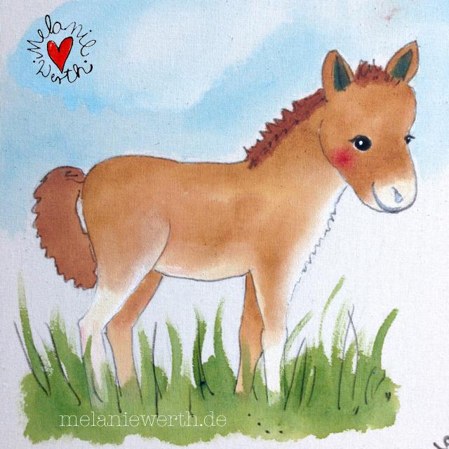 Kinderzimmerbild mit Pony, Geschenk Weihnachten mit Pony, Bild Kinderzimmer mit Pony, Baby Pony, Pony Fohlen Geschenk Mädchen, Geschenk Mädchen mit Pony