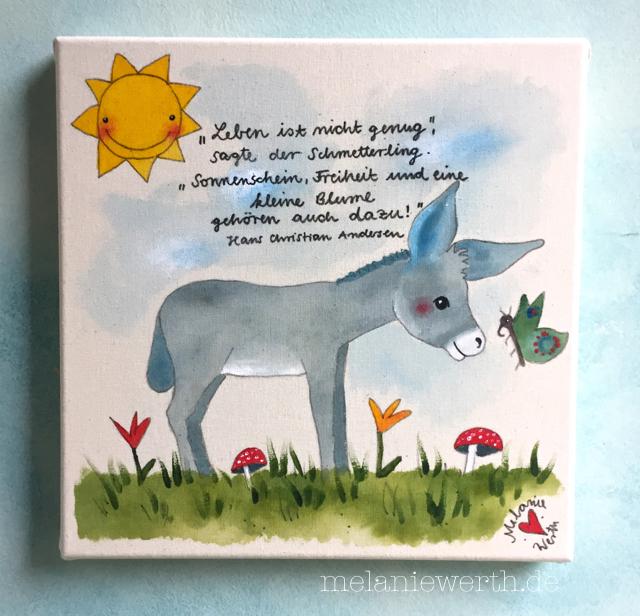 Kinderzimmerbild, individuelles Bild für das Kinderzimmer, Bild mit Esel Kinderzimmer