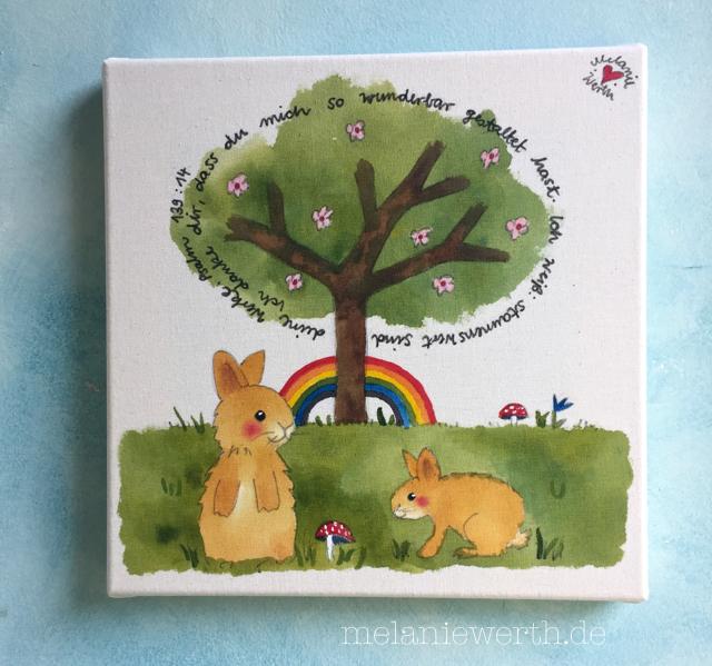 zwei Hasen und ein Lebensbaum, Kinderzimmerbild zur Taufe