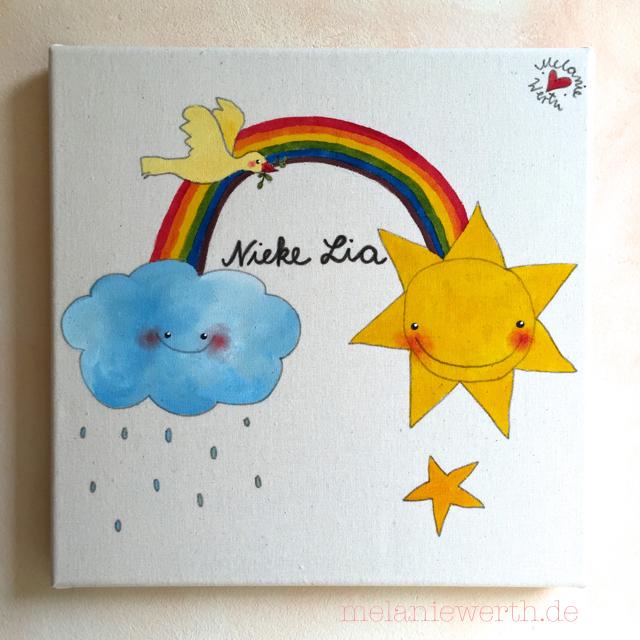 Kinderzimmerbild Wolke, Regenbogen und Sonne, Bild für das Kinderzimmer, individuelles Bild Kinderzimmer, Leinwand für Kinder, Geschenk Geburt Kinderzimmer