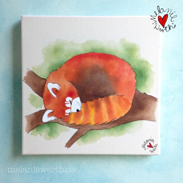 Weihnachtsgeschenk toter Panda, Geschenk mit rotem Panda, Bild fürs Kinderzimmer, Kinderzimmerbild, Roter Panda schläft, Kinderbild