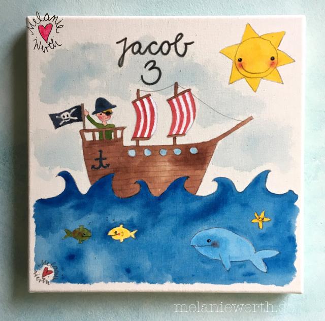 Piratenschiff, Kinderzimmerbild, Pirat Geburtstag, Geburtstagsfeier Piraten, Geburtstagsgeschenk mit Pirat, Piratenschiff Bild