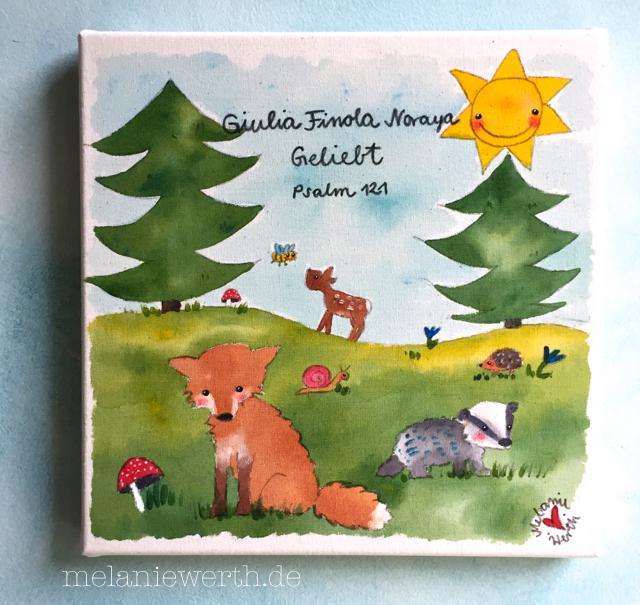 Psalm 121, Waldwiese mit Tieren, Kinderzimmerbild, Dachs, Reh, Fuchs, Schnecke, Igel, Sonne, Kinderzimmerbild Waldtiere