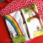 Hase, Reh und Regenbogen Kissenbezug zur Taufe mit Taufspruch