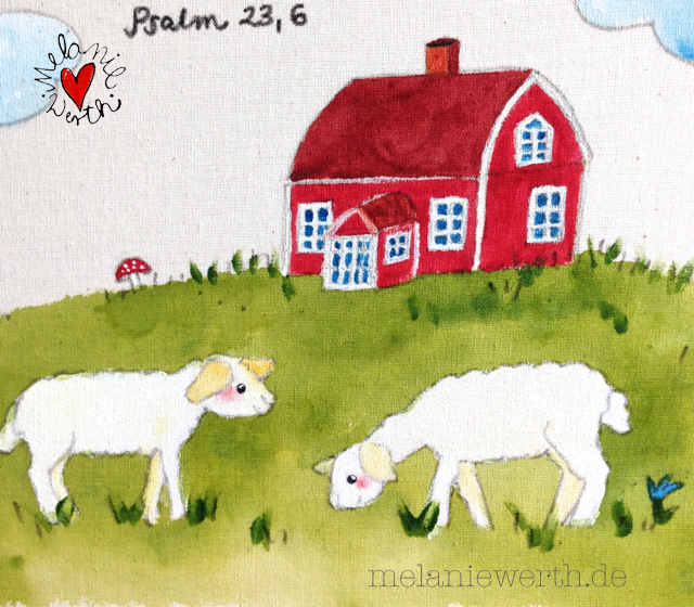 Kinderzimmerbild, Leinwand Kinderzimmer, individuelles Bild Kinderzimmer, Geschenk Taufe Leinwand, Geschenk Taufe Psalm 23 Vers 6