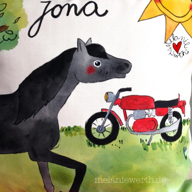 Geschenk Kind mit Pferd, Geschenk Kind mit schwarzem Pferd, Geschenk Junge Motorrad, Kissenbezug mit Motorrad, Geschenk Junge Motorrad rot, Geschenk Geburtstag mit Pferd, Geschenk Geburtstag mit Motorrad