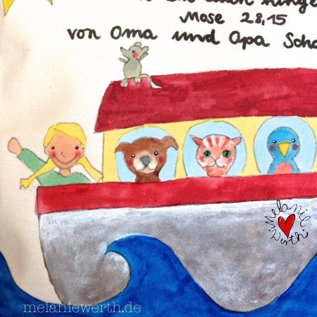 Ich bin mit Dir und will dich behüten wo Du auch hingehst, Mose 28 Vers 15, Geschenk Taufe Patenkind, Geschenk mit Arche Noah, Arche Noah für Kinder, Arche Noah fürs Kinderzimmer, Kinderbild Arche Noah, Kinderzimmerbild Arche Noah, Geschenk Taufe mit Taufspruch,