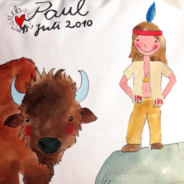 Geschenk für Paul, Geschenk mit Indianer, Geschenk mit Büffel, Kissenbezug Indianer, Kissenbezug Büffel, Indianerfan Geschenk, Indianerjunge, Geschenk für den Indianerfreund, friedlicher Büffel