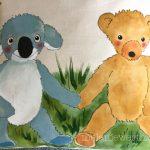 Geschenk Patenkind mit Kuscheltier, Bild vom Kuscheltier, Porträt vom Kuscheltier, Porträt Teddybär, Porträt Kuscheltier Kind, Geschenk Taufe mit Kuscheltier, Geschenk Patenkind, Koalabär Geschenk Kind, Kuscheltier Koalabär