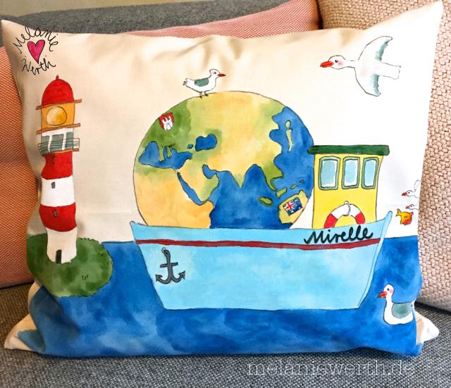 Boot mit Globus, Geschenk mit Globus, Boot mit Leuchtturm, Geschenk mit Leuchtturm, Möwe Geschenk Taufe