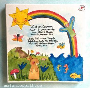 Kinderzimmerbild zur Taufe, Geschenk Taufe, Geschenk Patenkind, Geschenk Patentante, Geschenk Taufspruch, Geschenk mit Engel, Taufgeschenk, Taufgeschenk Regenbogen