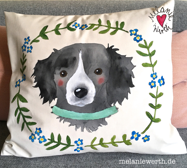 Kissenbezug mit Hund, Hundeportrait,