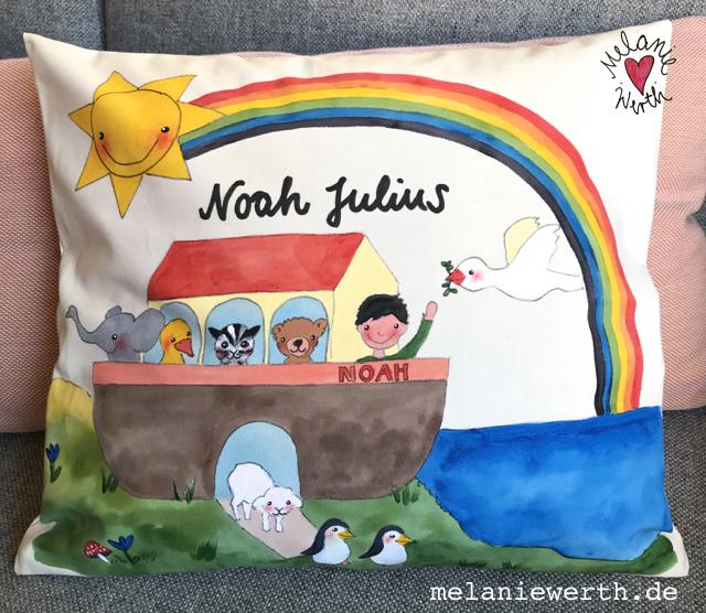 Taufe Geschenk, individuelles Taufgeschenk, Arche Noah zur Taufe, Arche Noah Kissenbezug