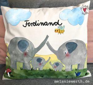 Kuschelkissen für Kinder, Illustration für Kinder, Elefant Geschenk, Elefantenbaby, Elefantenfamilie, Geschenk zur Geburt mit Elefant