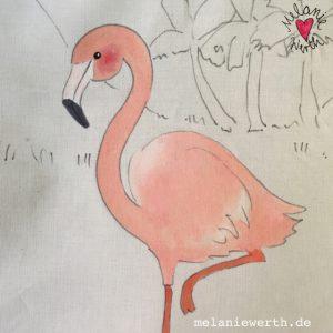 Flamingo Illustration, Geschenk fuer Kinder, Tierillustration, Kinderillustration, Malerei fuer Kinder, individuelles Kindergeschenk, Flamingoliebe
