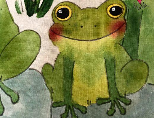 Illustration für Kinder, Frosch Geschenk, sei kein Frosch, Frosch im Teich, Geschenk zur Geburt mit Frosch