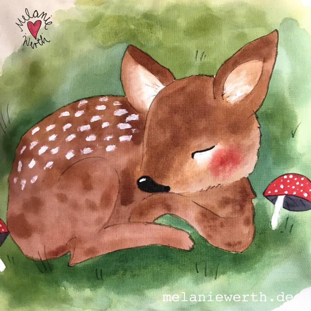 Kuschelkissen für Kinder, Illustration für Kinder, Rehkitz Geschenk, sei kein Frosch, Reh schläft im Gras, Geschenk zur Geburt mit Rehkitz