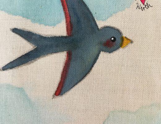 Schwalbenflug, Schwalben, Schwalbe, swallow, Illustration Vogel, birdillustration, Watercolor for children