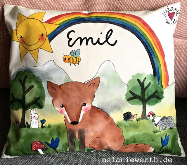 Kinder Bio-Baumwolle, kleineslabel, Fuchs Geschenk Kinder, Kinderkissen, Kissen mit Illustration, Kissen Geschenk Geburt, Fuchs, Kunst für Kinder