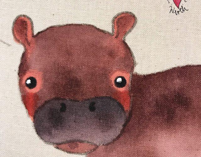 Kinder Leinwand, kleineslabel, Nilpferd Geschenk Kinder, Kinderbild, Einzelanfertigung Kinder, persönliche Illustration, individuelles Geschenk Geburt, Nilpferd, Hippo, Kunst für Kinder