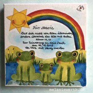 Kinder Leinwand, kleineslabel, Frosch Geschenk Kinder, Kinderbild, Einzelanfertigung Kinder, persönliche Illustration, individuelles Geschenk Geburt, Frosch, Kunst für Kinder