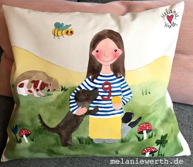 Kissen für Kinder, Geschenk Geburt Hund, Geschenk Geburt individuell, Geschenk Patenkind, Geschenk Patentante, Geschenk Patenonkel, Geschenk mit Hunden, buysmall, handgemacht