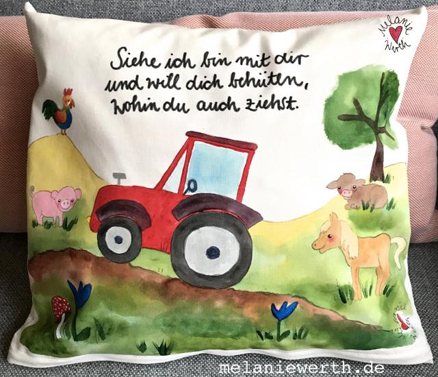Kissen für Kinder, Geschenk Geburt Traktor, Geschenk Geburt individuell, Geschenk Patenkind, Geschenk Patentante, Geschenk Patenonkel, Geschenk mit Traktor, buysmall, handgemacht
