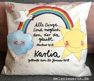 Geschenk mit Regenbogen, Taufkissen, individuelles Geschenk Patenkind, Taufgeschenk, Regenbogen Hoffnung Taufe, Kinderkissen, Kissen für Kinder