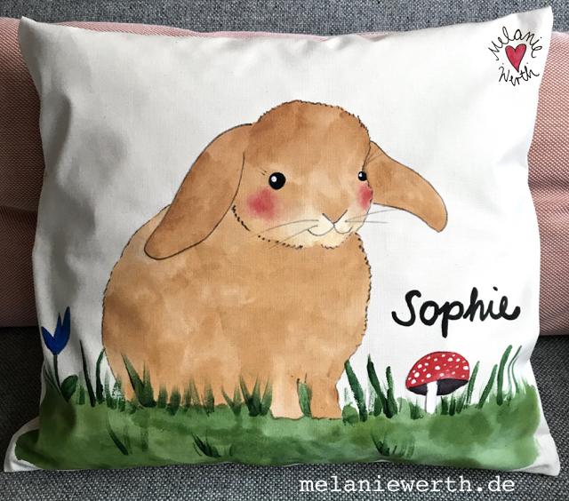 Kinder Bio-Baumwolle, kleineslabel, Kaninchen Geschenk Kinder, Kinderkissen, Kissen mit Illustration, Kissen Geschenk Geburt, bunte Kaninchen, Kunst für Kinder