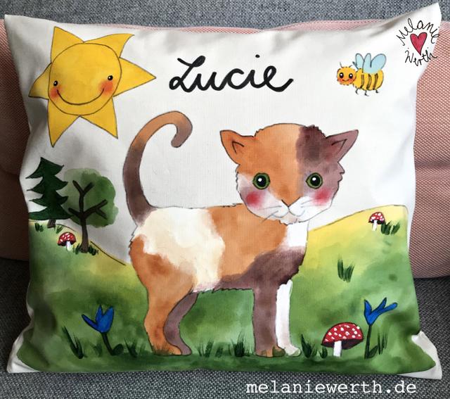 Kinder Bio-Baumwolle, kleineslabel, Katze Geschenk Kinder, Kinderkissen, Kissen mit Illustration, Kissen Geschenk Geburt, bunte Katze, Kunst für Kinder