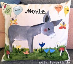 Geschenk mit Esel, Kinderbild Esel, Moritz Kindername, Geschenk mit Namen, Geschenk Neugeborenes, Geburtsdaten Geschenk