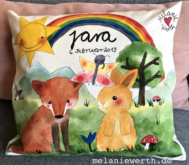 Geschenk mit Schmetterling, Regenbogen Geburt, Kinderbild Fuchs, Jara Kindername, Geschenk mit Namen, Geschenk Neugeborenes, Geburtsdaten Geschenk